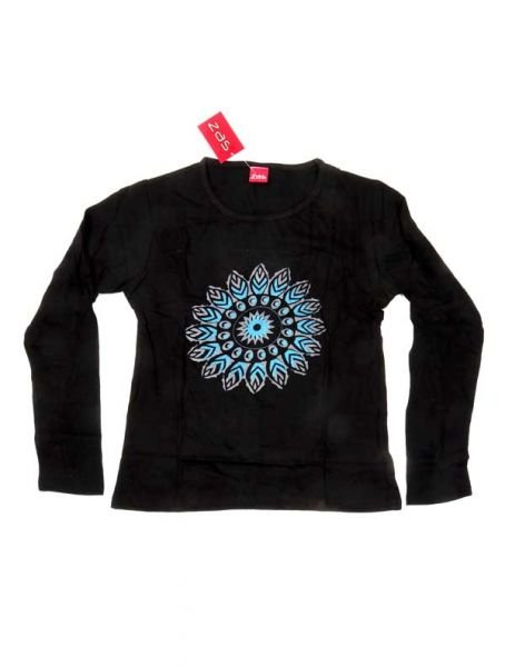 Camiseta con Flor Étnica Estampada - Negro Comprar al mayor o detalle