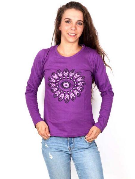 Camisetas de Manga Larga - Camiseta con Flor Étnica Estampada [CAEV20] para comprar al por mayor o detalle  en la categoría de Ropa Hippie Alternativa para Mujer.