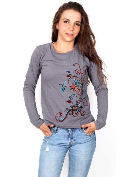 Camisetas de Manga Larga - Camiseta con Flor Étnica Bordada [CAEV21] para comprar al por mayor o detalle  en la categoría de Ropa Hippie Alternativa para Mujer.