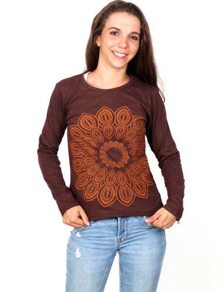 Camisetas de Manga Larga - Camiseta con gran Flor Étnica Estampada [CAEV22] para comprar al por mayor o detalle  en la categoría de Ropa Hippie Alternativa para Mujer.