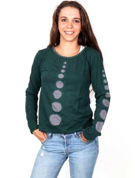 Camisetas de Manga Larga - Camiseta Hippie de Círculos Cutting CAEV26 para comprar al por Mayor o Detalle en la categoría de Ropa Hippie Alternativa para Mujer