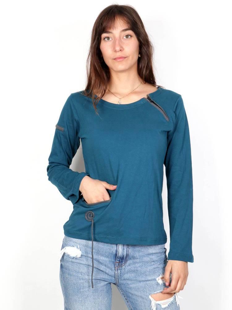 Camisetas de Manga Larga - Camiseta Espiral cremalleras [CAHC10] para comprar al por mayor o detalle  en la categoría de Ropa Hippie Alternativa para Mujer.