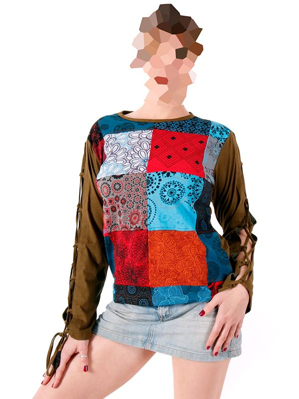 Camisetas de Manga Larga - Camiseta Hippie Patchwork [CAHC12] para comprar al por mayor o detalle  en la categoría de Ropa Hippie Alternativa Chicas.