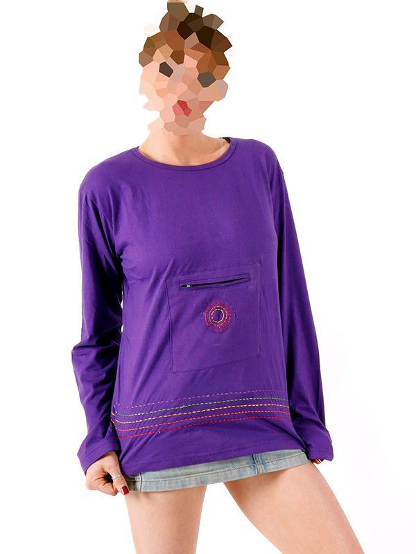 Camisetas de Manga Larga - Camiseta con bolsillo frontal [CAHC14] para comprar al por mayor o detalle  en la categoría de Ropa Hippie Alternativa para Chicas.