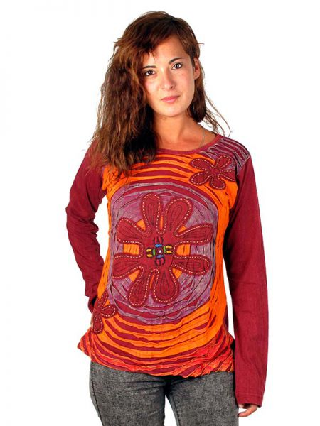 Camiseta hippie 3 flores camiseta de manga zas camt01 for Camisetas hippies caseras