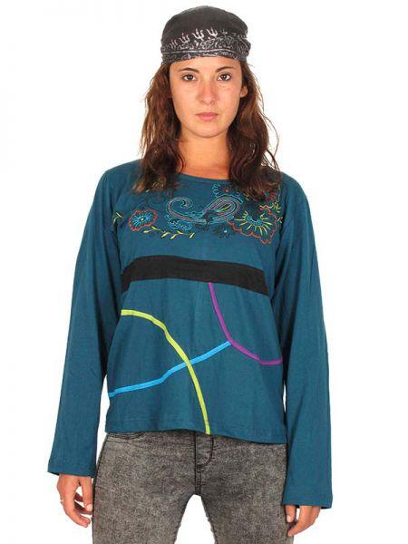 Camiseta flores bordadas. Camiseta de manga larga de algodón alternativa Comprar - Venta Mayorista y detalle