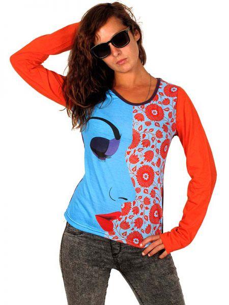 Perfil de mujer maquillada y flores. camiseta de manga larga con el [CAUN07] para Comprar al mayor o detalle