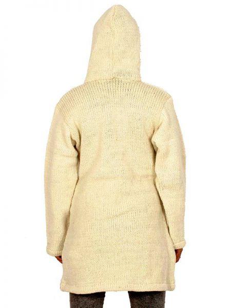 Abrigo de lana ochos Alternativo. Abrigo tres cuartos de punto de lana con ochos verticales en los lados, hippie, alternativo y artesanal. Con capuchacon cordón, bolsillos laterales, cremallera. SIN forro polar interno - Detalle Comprar al mayor o detalle