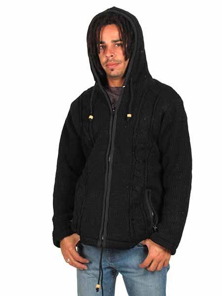 Sudaderas - Abrigos - Chaqueta de lana Alternativa. Chaqueta - Abrigo tipo sudadera de punto [CHAM15] para comprar al por mayor o detalle  en la categoría de Ropa Hippie Alternativa para Hombre.