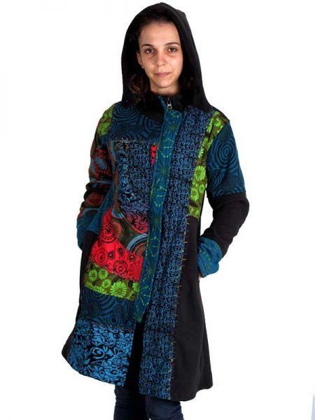 Abrigo parches estampados étnico de material polar, con capucha Comprar - Venta Mayorista y detalle
