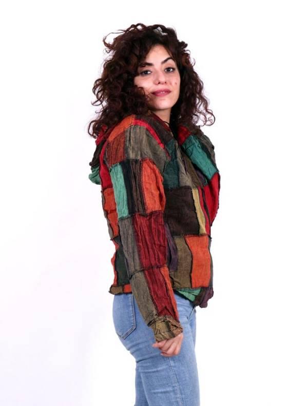 Chaqueta patchwork con capucha - Detalle Comprar al mayor o detalle