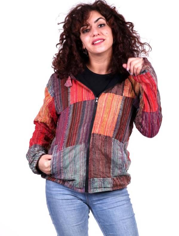 Chaquetas y Abrigos - Chaqueta patchwork de rayas lavada a la piedra CHEV27 para comprar al por Mayor o Detalle en la categoría de Ropa Hippie para Mujer