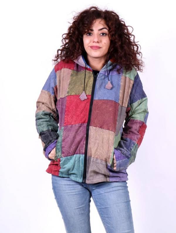 Chaquetas y Abrigos - Chaqueta patchwork liso lavada a la piedra CHEV28 para comprar al por Mayor o Detalle en la categoría de Ropa Hippie para Mujer