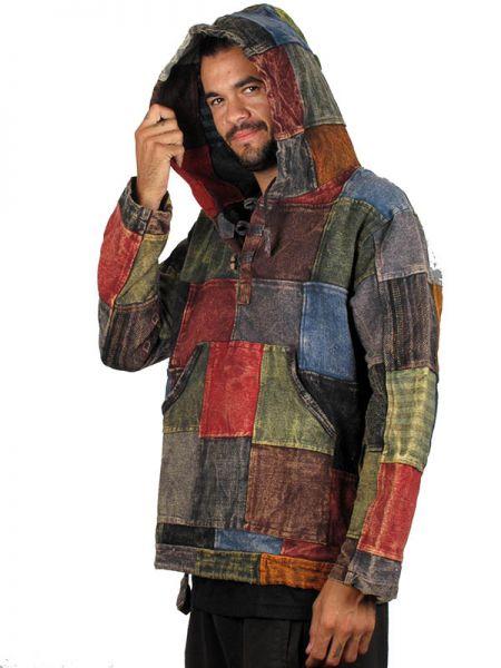 Sudaderas - Abrigos - Sudadera hippie patchwork lavada a la piedra [CHHC32] para comprar al por mayor o detalle  en la categoría de Ropa Hippie Alternativa para Hombre.