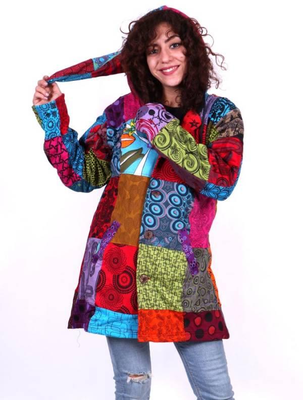 Chaquetas/ Abrigos - Abrigo hippie patchwork Estampado. [CHHC43] para comprar al por mayor o detalle  en la categoría de Ropa Hippie Alternativa para Chicas.
