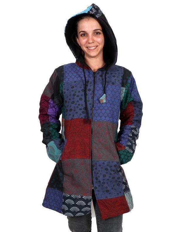 Chaquetas/ Abrigos - Abrigo hippie patchwork. CHHC45 para comprar al por Mayor o Detalle en la categoría de Ropa Hippie Alternativa Chicas