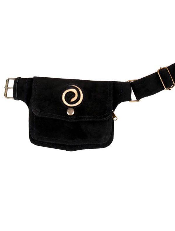 Riñonera de cuero diseño Espiral - Negro Comprar al mayor o detalle