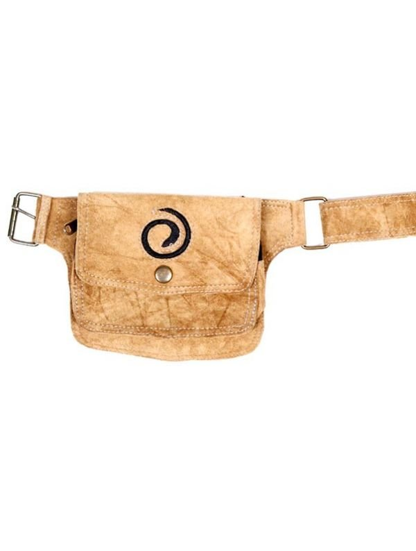 Riñonera de cuero diseño Espiral [CIGO05-C]. Riñoneras y Cartucheras Hippies para comprar al por mayor o detalle  en la categoría de Complementos Hippies Alternativos.