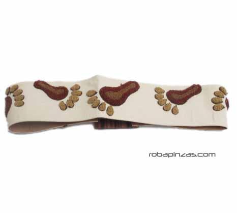 Cinturón ancho brocado diseño de Pies, hebilla de madera, belcro Comprar - Venta Mayorista y detalle