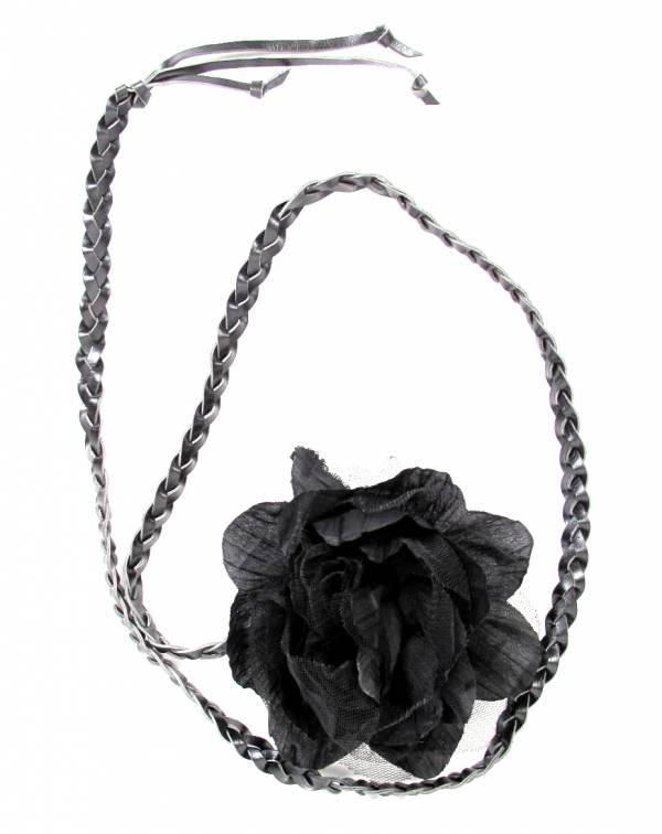 Cinturón flor de tela, con cordón de cuero PA trenzado terminado en flecos y flor decorativa de tela - Marrón Comprar al mayor o detalle