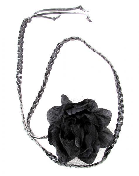 Cinturón flor de tela, con cordón de cuero PA trenzado terminado [CIPO01] para Comprar al mayor o detalle