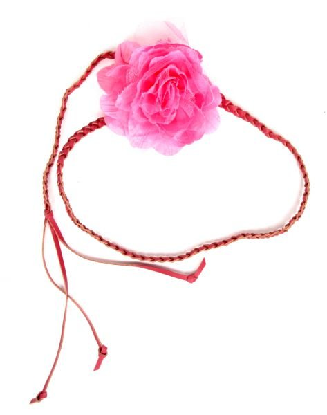 Cinturón flor de tela, con cordón de cuero PA trenzado terminado Comprar - Venta Mayorista y detalle