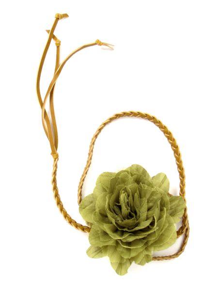Cinturones Llaveros - Cinturón flor de tela, con cordón de cuero PA trenzado terminado [CIPO01] para comprar al por mayor o detalle  en la categoría de Complementos Hippies Alternativos.