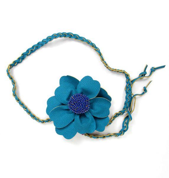 Cinturones Llaveros - cinturón flor cuero CIPO02 - Modelo Azul