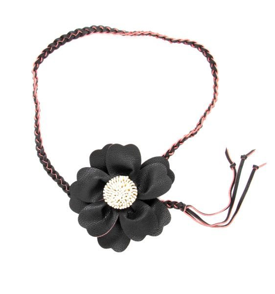 Cinturón flor cuero pa, con cordón trenzado terminado en flecos CIPO02 para comprar al por mayor o detalle  en la categoría de Complementos Hippies Alternativos.