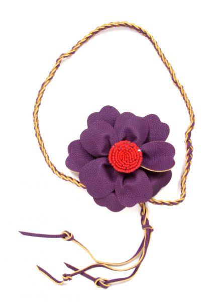 Cinturones Llaveros - Cinturón flor cuero pa, con cordón trenzado terminado en flecos [CIPO02] para comprar al por mayor o detalle  en la categoría de Complementos Hippies Alternativos.