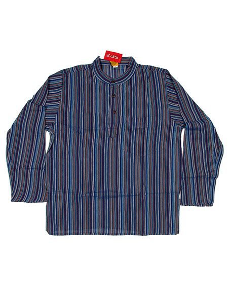 Camisa hippie de rayas manga larga - Azul Comprar al mayor o detalle