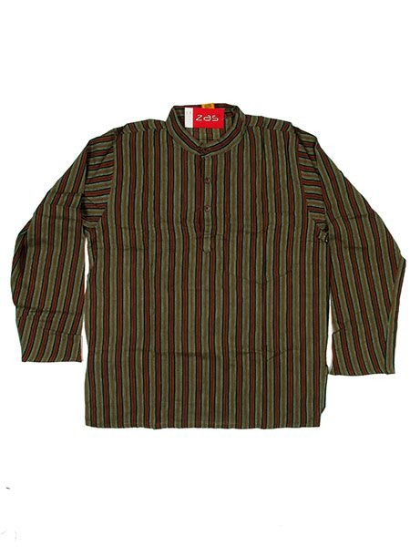 Camisa hippie de rayas manga larga - Verde cl Comprar al mayor o detalle
