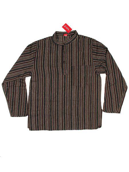 Camisa hippie de rayas manga larga - Marrón Comprar al mayor o detalle