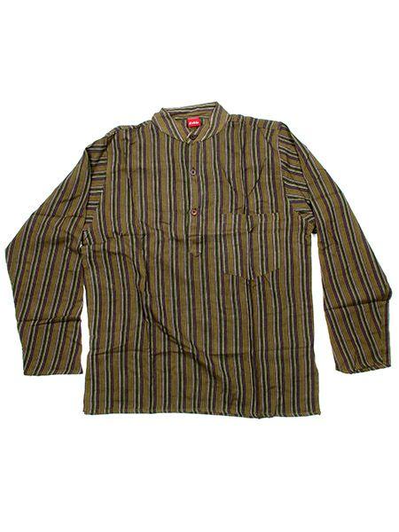 Camisa de algodón de rayas en manga larga con cuello mao y Comprar - Venta Mayorista y detalle