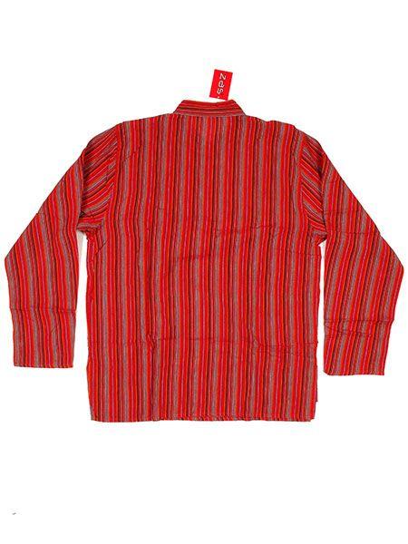 Camisa hippie de rayas manga larga - Granate Comprar al mayor o detalle