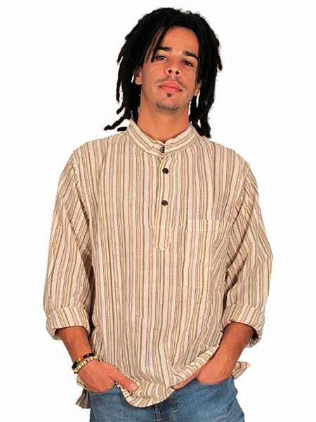 Shirts Hippies M Long - Long sleeve striped hippie shirt CLEV02 to buy wholesale or Detail in the category of Hippie Clothing for Men