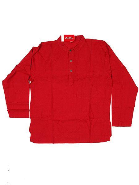 Camisas Hippies M Larga - Camisa de algodón en CLEV03 - Modelo Rojo