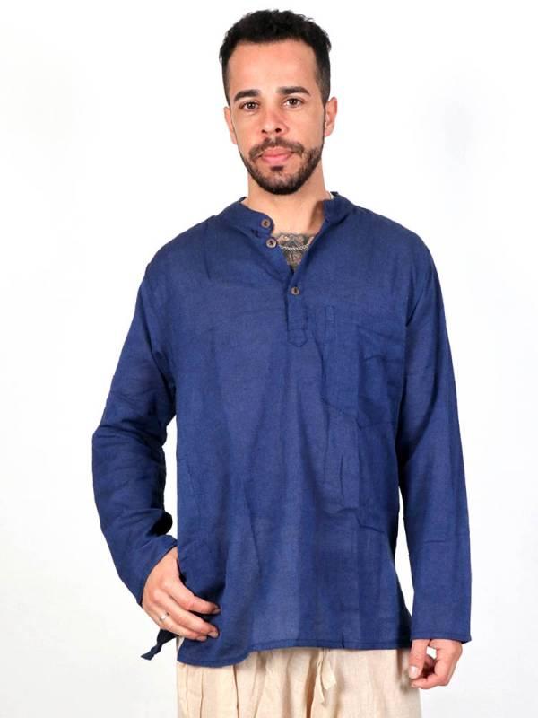Camisas Hippies M Larga - Camisa hippie lisa de manga larga [CLEV03] para comprar al por mayor o detalle  en la categoría de Ropa Hippie Alternativa para Hombre.