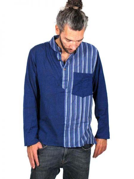 Camisa de algodón combinado rayas liso de manga larga con cuello Comprar - Venta Mayorista y detalle