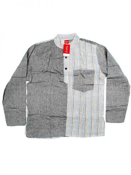 Camisas Hippies M Larga - Camisa de algodón combinado CLEV05 - Modelo Gris