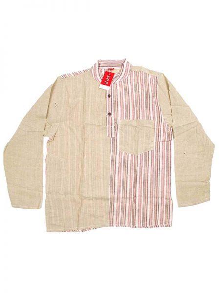 Camisas Hippies M Larga - Camisa de algodón combinado CLEV05 - Modelo Natural