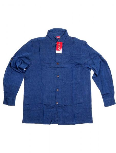Camisa hippie lisa de manga larga - Azul Comprar al mayor o detalle