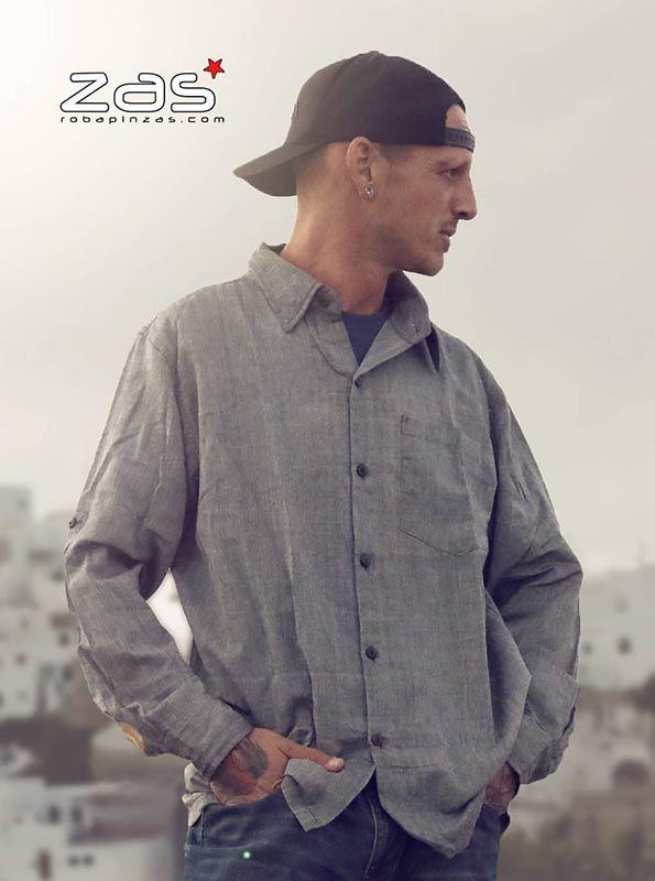 Camisas Hippies M Larga - Camisa hippie lisa de manga larga [CLEV06] para comprar al por mayor o detalle  en la categoría de Ropa Hippie Alternativa para Hombre.