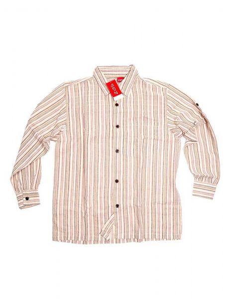Camisa hippie de rayas manga larga - Beige Comprar al mayor o detalle