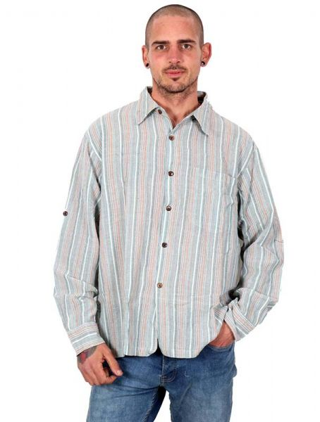 Camisa de rayas de algodón con cuellos normales y botones de Comprar - Venta Mayorista y detalle