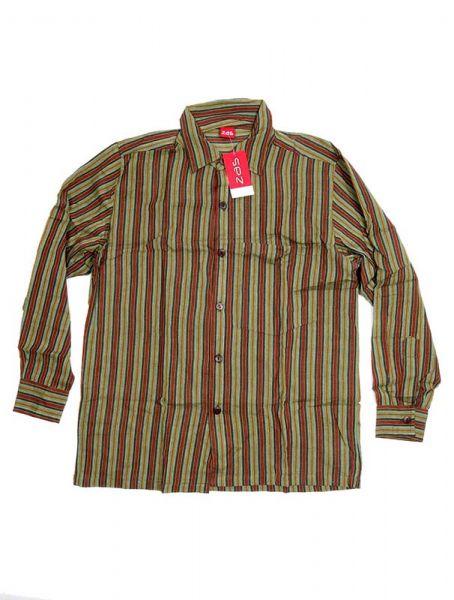 Camisa hippie de rayas manga larga - Verde Comprar al mayor o detalle