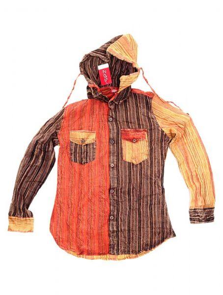 Camisas Hippies M Larga - Camisa de rayas de algodón CLEV07B - Modelo Naranja