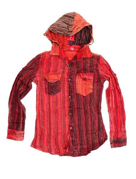 Camisas Hippies M Larga - Camisa de rayas de algodón CLEV07B - Modelo Rojo