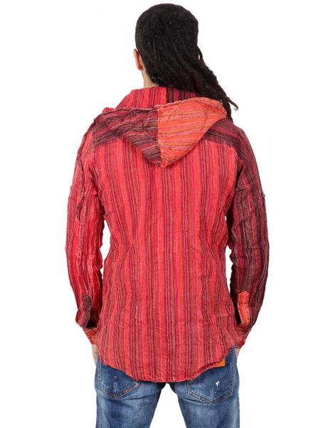 Camisas Hippies M Larga - Camisa de rayas de algodón CLEV07B.