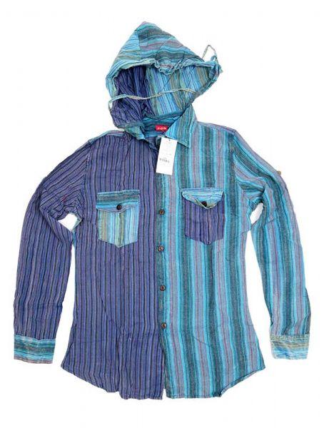 Camisas Hippies M Larga - Camisa de rayas de algodón CLEV07B - Modelo Azul